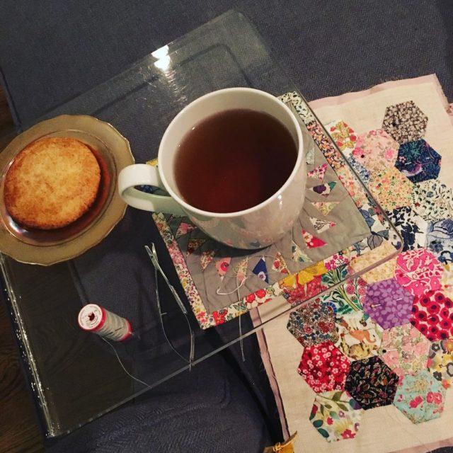 Hand sewing  snickerdoodle  chamomile tea  perfect Saturdayhellip
