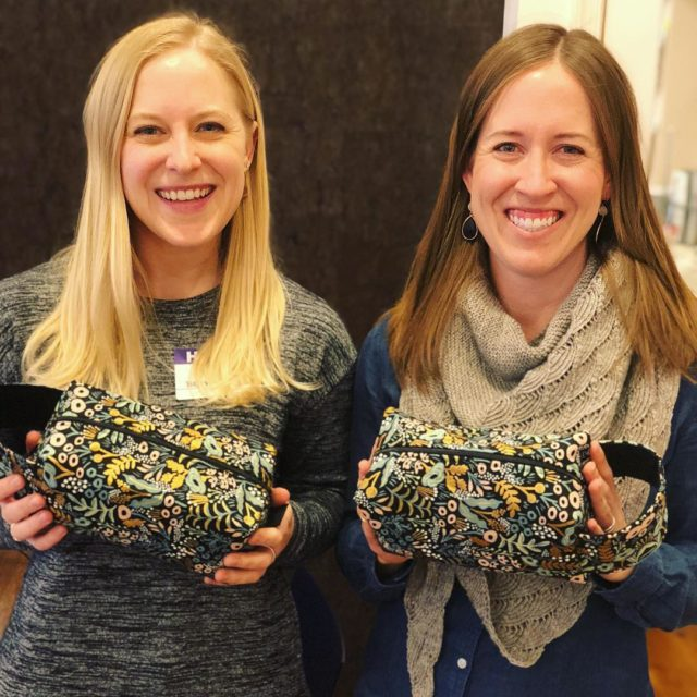 Two happy gals with two cute box bags made inhellip